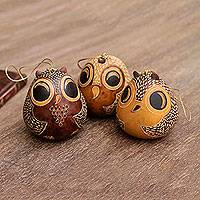Mate gourd ornaments, 'Brown Owls' (set of 3) - Adorable Mate Gourd Bird Ornaments (Set of 3)