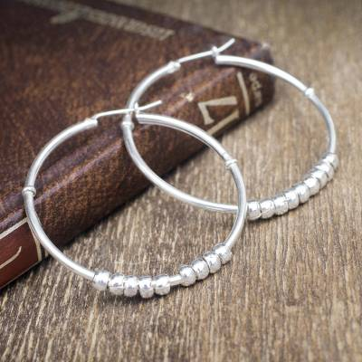 Sterling silver hoop earrings, 'Spellbound' - Sterling silver hoop earrings