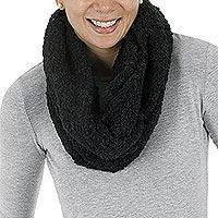 Alpaca blend infinity scarf, 'Black Infinity' - Alpaca blend infinity scarf