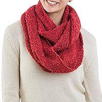 Alpaca blend infinity scarf, 'Rose Infinity' - Aurora Red Alpaca Wool Scarf