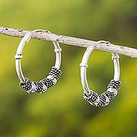 Sterling silver hoop earrings, 'Enigma'