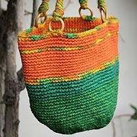 Jute shoulder bag, 'Amazon' - Jute shoulder bag