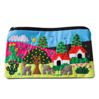 Cotton Applique Folk Art Cosmetic Bag