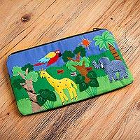 Applique cosmetic bag, 'Jungle Friends' - Cotton Applique Folk Art Cosmetic Bag