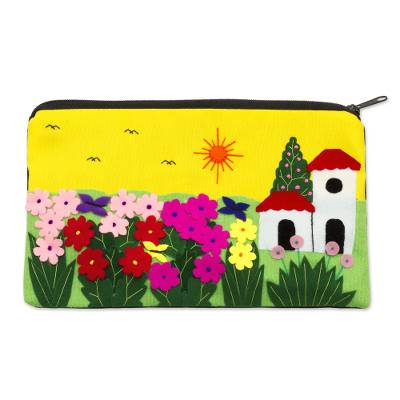 Applique cosmetic bag, 'Sunny Afternoon' - Andean Folk Art Cotton Applique Cosmetic Case