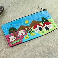 Applique cosmetic bag, 'Andean Morn' - Handmade Cotton Applique Folk Art Cosmetic Case