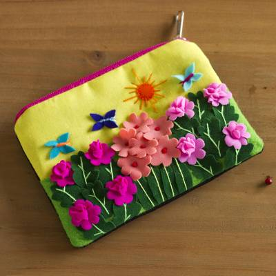 Applique coin purse, Butterfly Afternoon