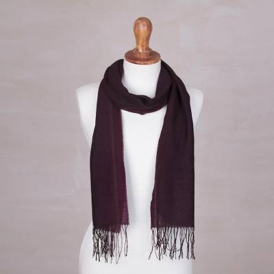 Alpaca and silk blend scarf, 'Piura in Currant' - Dark Plum Alpaca and Silk Blend Scarf