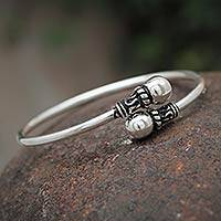 Silver wrap bracelet, 'Togetherness' - Modern Bangle Sterling Silver Bracelet