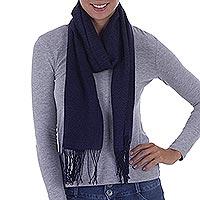 Alpaca blend scarf, 'Herringbone Navy'