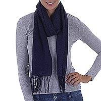 Alpaca blend scarf, 'Herringbone Navy' - Navy Blue Woven Alpaca Blend Scarf