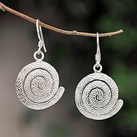 Sterling silver dangle earrings, 'Andean Energy' - Sterling silver dangle earrings