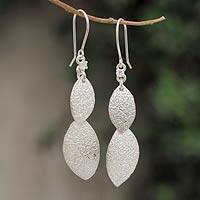 Sterling silver dangle earrings, 'Frosted Dew' - Sterling Silver and CZ Dangle Earrings