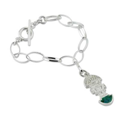 Chrysocolla Charm Bracelet 925 Sterling Silver