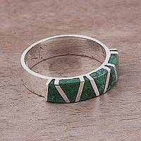 Chrysocolla band ring, 'Moche Mountains'