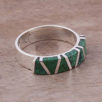 Chrysocolla band ring, 'Moche Mountains' - Women's Inlaid Chrysocolla 925 Silver Ring