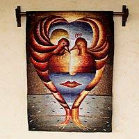 Alpaca tapestry, 'God's Love' - Surreal Bird Woman Handwoven Alpaca Tapestry (2x3)