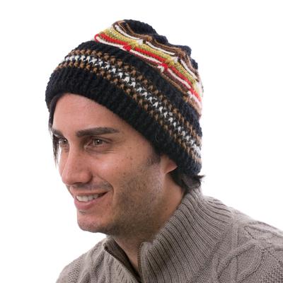 Men's 100% alpaca hat, 'Night Beacon' - Men's Hat Black 100% Alpaca Crocheted by Hand Yellow Accents