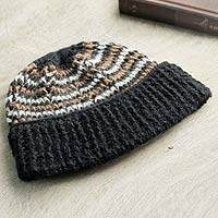 Men's 100% alpaca hat, 'Night Expedition' - Men's Hat 100% Alpaca Crocheted by Hand Black and Brown