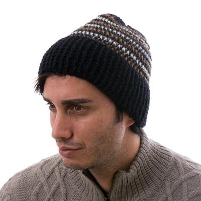 Men's 100% alpaca hat, 'Night Expedition' - Men's Hat 100% Alpaca Crocheted by Hand Black and Brown