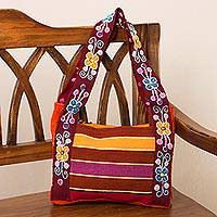 Wool shoulder bag, 'Ayacucho Bouquet' - Floral Wool Tote Bag Woven and Embroidered by Hand