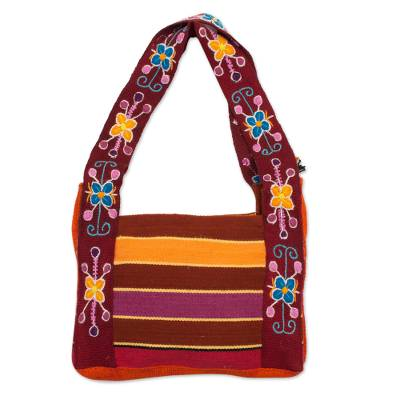Floral Wool Tote Bag Woven and Embroidered by Hand