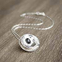 Obsidian pendant necklace, 'Dark Satellite' - Obsidian and Hammered Silver 925 Pendant Necklace