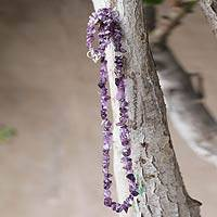 Amethyst strand necklace, 'Nature's Wisdom' - Handmade Amethyst Strand Necklace with 925 Clasp