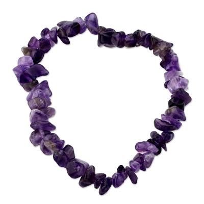 Amethyst stretch bracelet, 'Nature's Wisdom' - Handcrafted Amethyst Stretch Bracelet