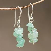 Beaded earrings, 'Nature's Creativity' - Beaded Green Quartz Sterling Silver Dangle Earrings