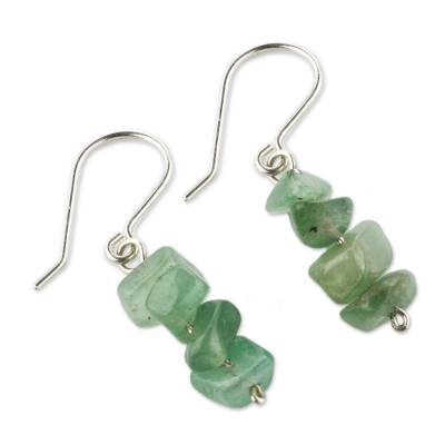 Beaded Green Quartz Earrings
