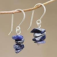 Sodalite beaded earrings, 'Nature's Harmony' - Peruvian Handcrafted Beaded Dangle Earrings