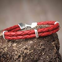 Men's leather bracelet, 'Red Furrows' - Men's Jewelry Leather Braided Bracelet with Sterling Silver