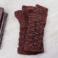100% alpaca fingerless mitts, 'Deep Red Bouquet' - Women's Alpaca Patterned Fingerless Mittens Gloves