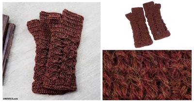 100% alpaca fingerless mitts, 'Deep Red Bouquet' - Women's Alpaca Patterned Fingerless Mittens Gloves