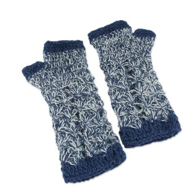 100% alpaca fingerless mitts, 'Azure Bouquet' - Collectible Alpaca Wool Patterned Gloves