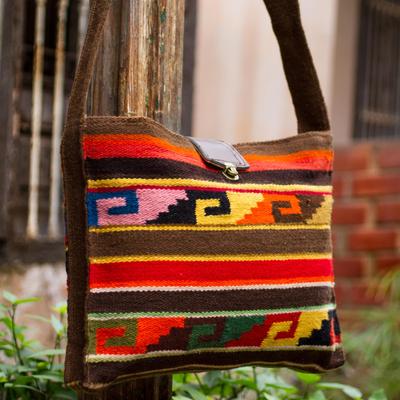b4b3cb2ab Wool shoulder bag, 'Inca Dusk' - Wool shoulder bag