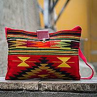 Wool shoulder bag, 'Inca Sun'