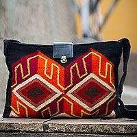 Wool shoulder bag, 'Inca Perspective'