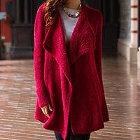 Alpaca cardigan, 'Rose Duchess' - Long Loose Fit Alpaca Cardigan