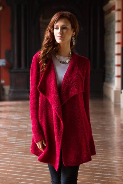 Baby alpaca blend cardigan, 'Rose Duchess' - Long Loose Fit Alpaca Cardigan