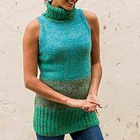 100% alpaca sweater vest, 'Turquoise Wonder' - Alpaca Sleeveless Long Sweater Vest
