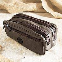 Leather accent travel case, 'Earth Textures'