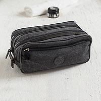 Leather accent travel case, 'Night Textures' - Men's Leather Accent Black Cotton Travel Case