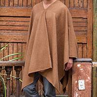 Men's alpaca blend poncho, 'Inca Explorer in Camel Brown'