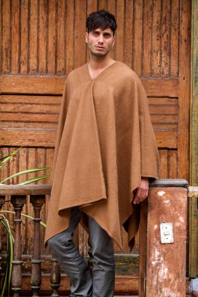 Men's alpaca blend poncho, 'Inca Explorer in Camel Brown' - Artisan Crafted V-neck Alpaca Blend Poncho for Men