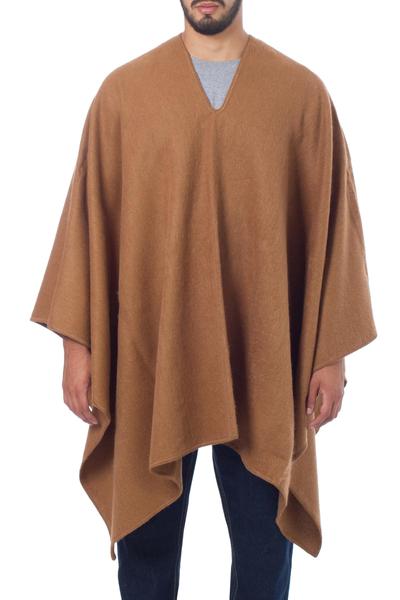 Artisan Crafted V-neck Alpaca Blend Poncho for Men