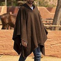 Men's alpaca blend poncho, 'Inca Explorer in Dark Brown' - Men's Alpaca Poncho with V-neck from Peru