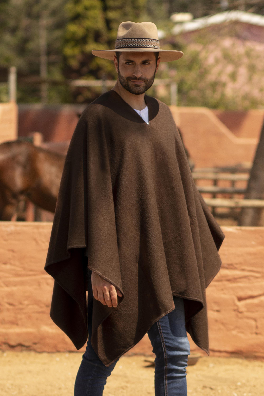 Men's Alpaca Poncho with V-neck from Peru, 'Inca Explorer in Dark Brown'