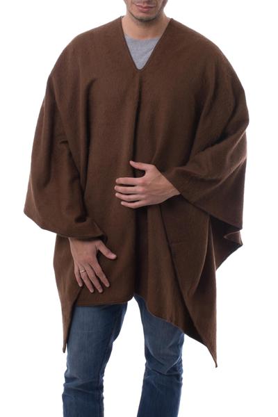 Men's alpaca blend poncho, 'Inca Explorer in Dark Brown' - Men's Alpaca Poncho with V-neck from Peru